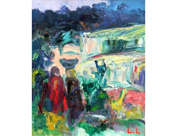 Абстрактная картина маслом Восточный народ, AM1379