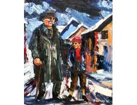Абстрактная картина маслом Дедушка с внуком S. Lidman 1974