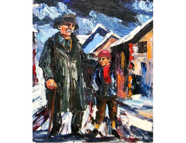 Абстрактная картина маслом Дедушка с внуком S. Lidman 1974, AM1165