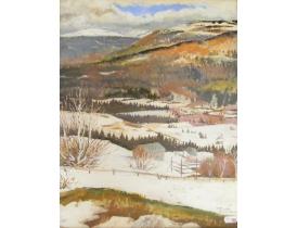 Akvarell Talvine maastik Stina Fant
