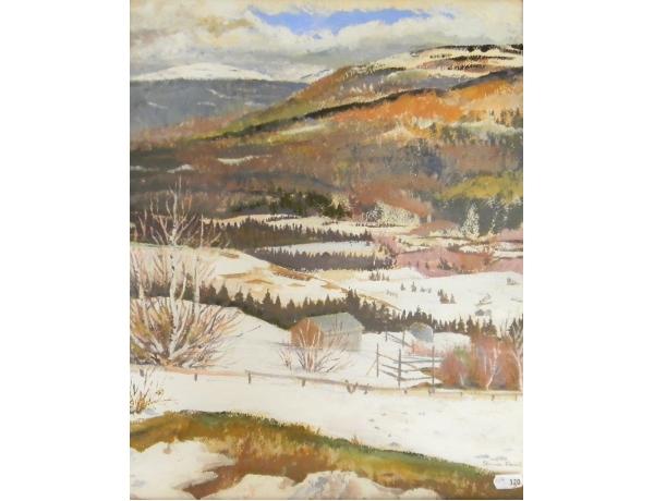 Akvarell Talvine maastik Stina Fant, AM1237