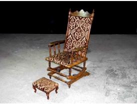 Американское кресло-качалка с пуфом