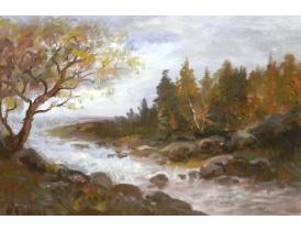 Картина маслом в античной раме Недалеко от водопада