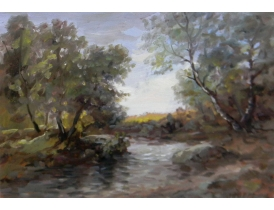 Картина в античной раме Ручей в лесу