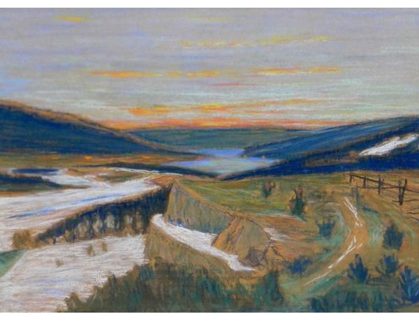 Рисунок Берег реки, AM0685
