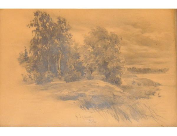 Рисунок Пейзаж 1913, AM1344