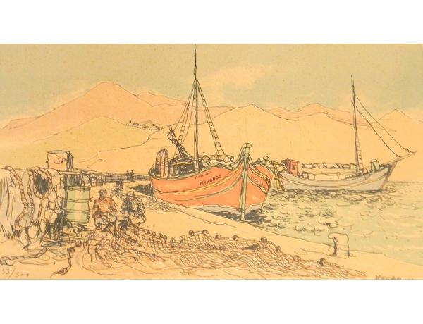 Рисунок Моряки в порту, AM1348