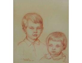 Рисунок Портрет Мальчики 1955