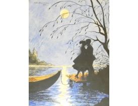 Joonistus Romantiline paar päikeseloojangul