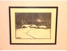 Рисунок Зима в деревне
