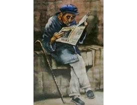 Рисунок Дедушка с газетой