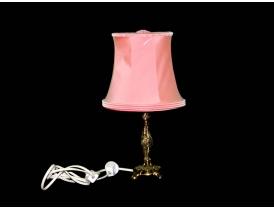 Настольная лампа из латуни и с розовым абажуром