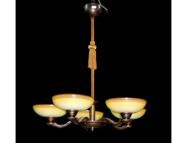 Люстра жёлтая с пятью куполами, AM0401