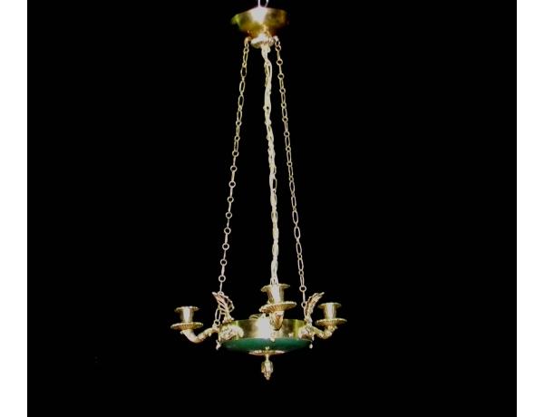 Люстра в зелёных и золотых тонах, AM0520