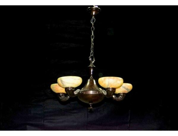 Люстра с пятью куполами из алебастра, AM0940