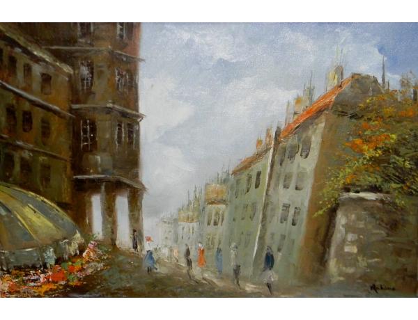 Картина маслом Абстрактный бульвар, AM1274