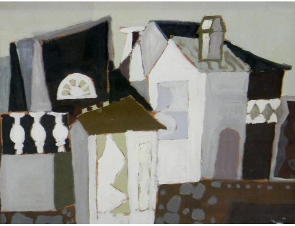 Картина маслом Абстрактный город, AM1331