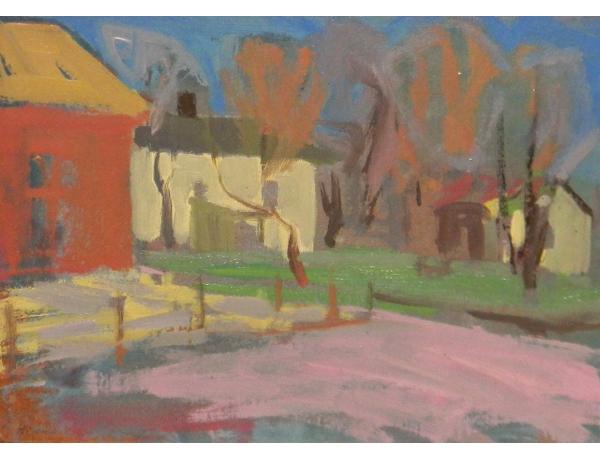 Картина маслом Абстрактная улица S. Sinde 1963, AM1244
