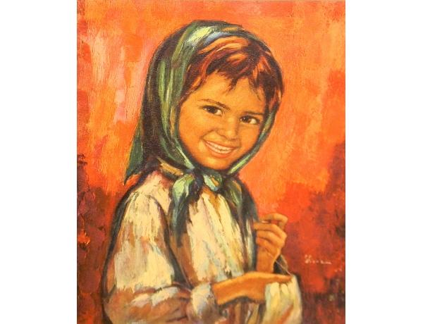 Печать маслом Абстрактная девочка, AM1245