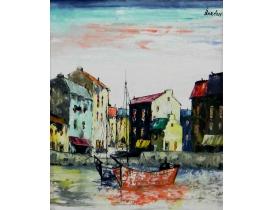 Картина маслом Абстрактные лодки и дома