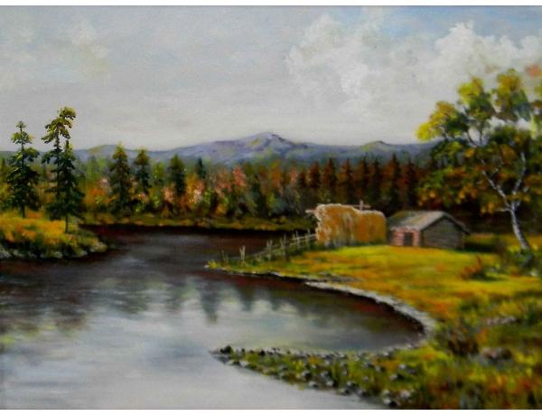 Картина Амбар на берегу реки, AM0534