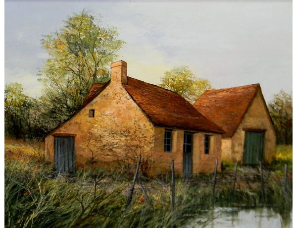 Картина маслом Амбар на берегу пруда Cubaynes, AM1384