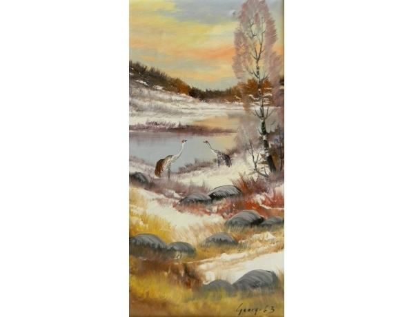 Картина маслом Фазаны на берегу пруда Georg 1963, AM1432