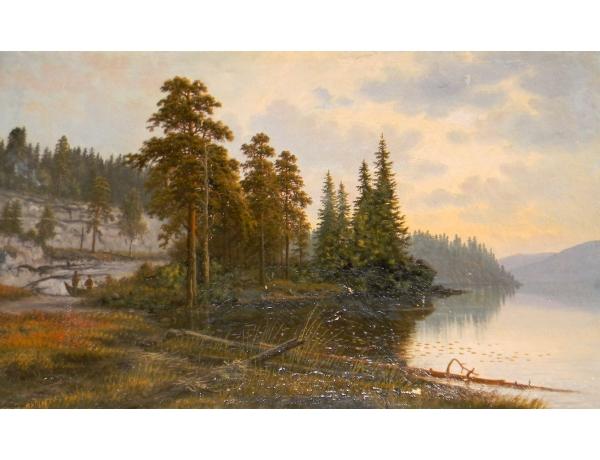 Картина маслом Утренняя рыбалка J.L K. 1901, AM1433
