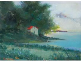 Картина маслом Здание на берегу озера Lars Boethius