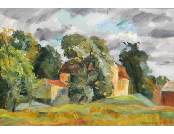 Картина маслом Здания в лесу, AM1247