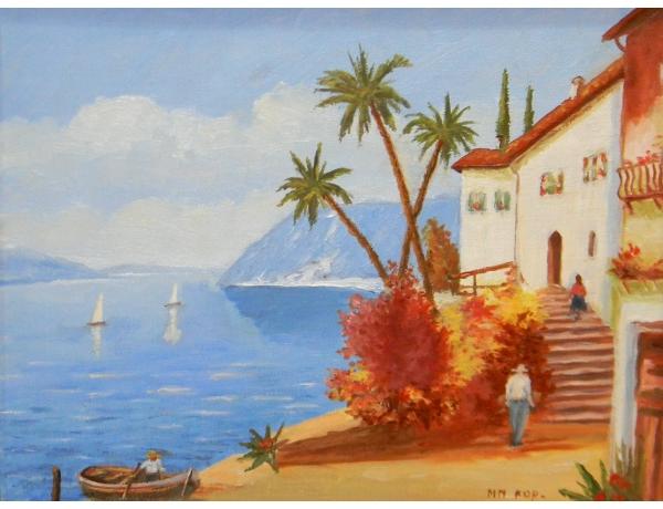 Картина маслом Восточный портовый город, AM1249