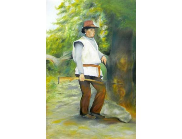 Картина Охотник с ружьём, AM0802