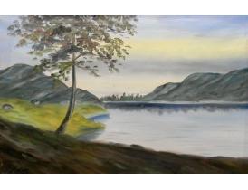 Картина маслом Озере между гор