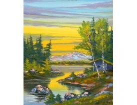 Картина маслом Река на склоне горы