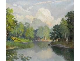 Картина маслом Река в лесу Oddmar 1945