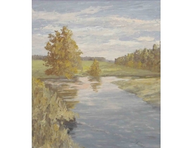 Картина маслом Река между полем и лесом
