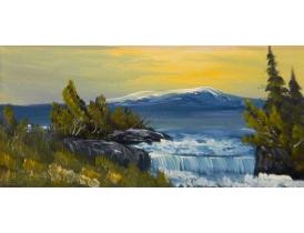 Картина маслом Водопад на склоне горы