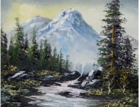Картина Водопад на склоне горы