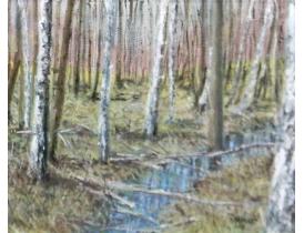 Картина маслом Березняк и ручей B. Nilsson 1998