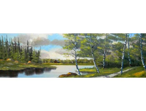 Картина Березняк на берегу реки, AM1049