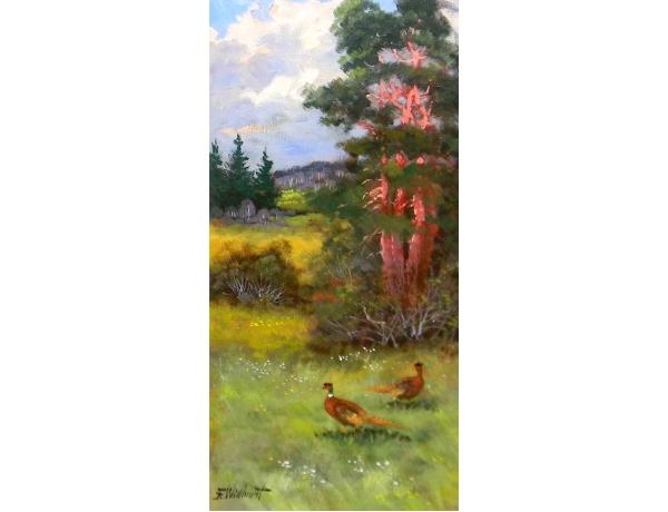 Картина маслом Два фазана на лугу Bertil Widbrant, AM1162