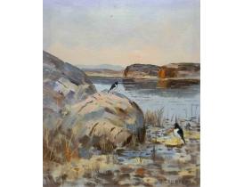 Картина маслом Две сороки на берегу пруда Eric Lauritzen