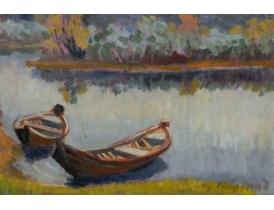 Картина Две лодки на берегу реки