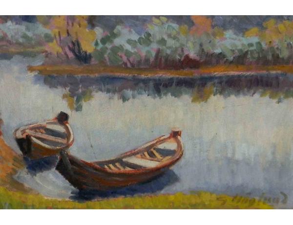 Картина Две лодки на берегу реки, AM0928