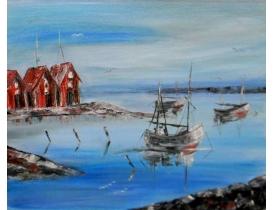 Картина маслом Рыбацкие лодки Aina Andersson