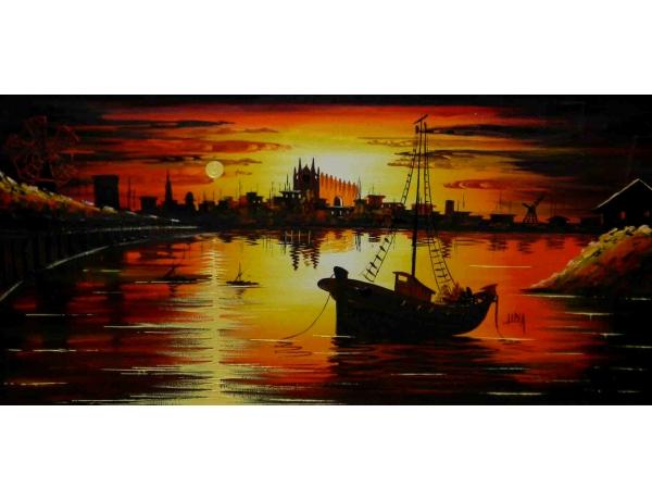 Картина маслом Рыбацкая лодка в закате, AM1095