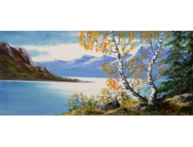 Картина маслом Берёзы на берегу озера B. Lidman