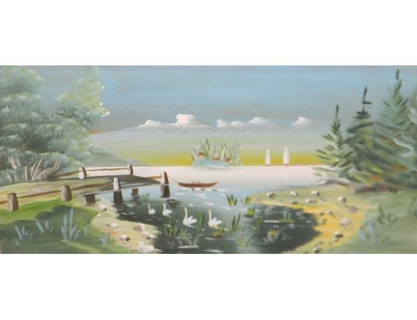 Картина маслом Прекрасные белые лебеди, AM1277
