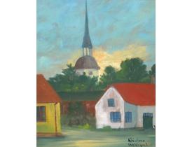Картина маслом Церковь в деревне