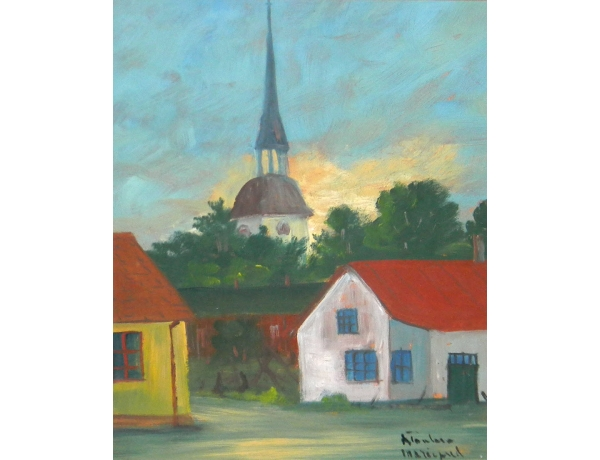 Картина маслом Церковь в деревне, AM1332